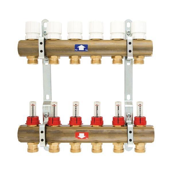 Põrandakütte kollektor flotomeetritega ehk vooluhulga reg.võimalusega.