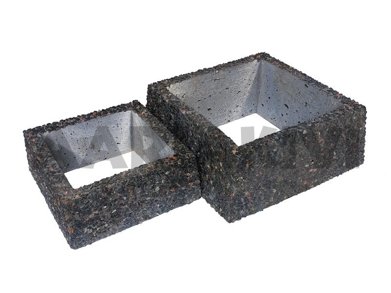 vaas pesubetoonist kandiline põhjata 30x30x12cm, 40x40x16cm kirjumust kild.