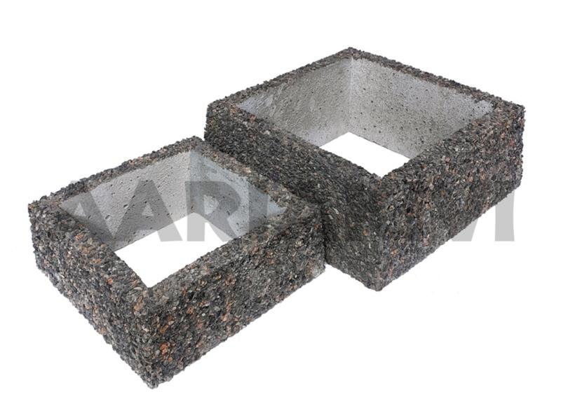 vaas pesubetoonist kandiline põhjata 30x30x12cm, 40x40x16cm kirjuhall kild.