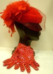 1 punane veluur kübar pc160966